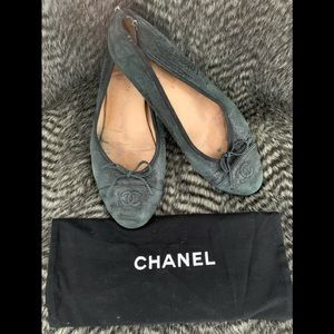 CHANEL classic Black Ballerina Leather Flats 41/11